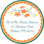 Name Doodles - Round Address Labels/Stickers (Chelsea Orange)